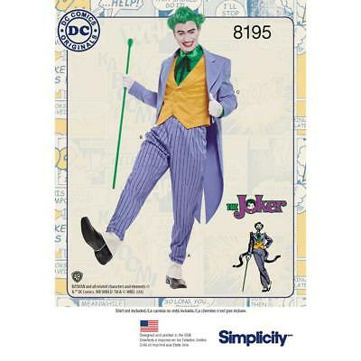 Simplicity Sewing Pattern Misses' Dc Comics The Joker Costume Size 38 - 52 8195