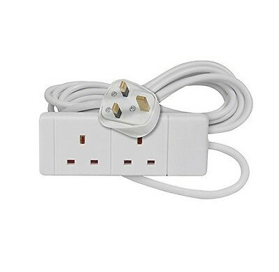 2 Way Gang Double Socket Power Mains Extension Lead 1M Metre Cable 13A White