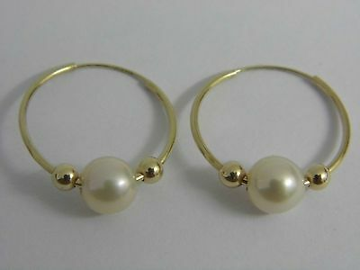 A Stunning Pair 14K 14Ct Gold Pearl Ball Loop Hoop Earrings