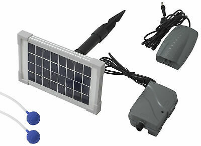 Woodside 3 in 1 Solar Powered Oxygenator Pond Water Oxygen Pump 2 Stone Aerator
