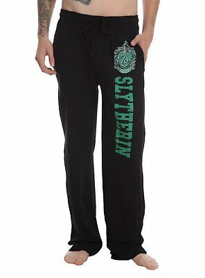 Mens Womens NEW Harry Potter Slytherin Black Pajama Lounge Pants XS S M L XL 2XL