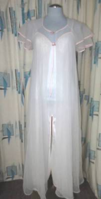Romantic Vtg Val Mode Sexy Maxi Nightgown & Double Sheer Nylon Robe Peignoir S
