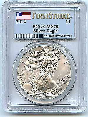 2014 MS70 First Strike PCGS Certified Coin American Silver Eagle Dollar C7