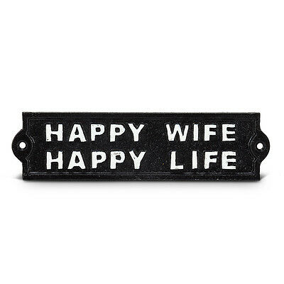 Happy Wife Happy Life Cast Iron Wall Plaque Sign Vintage Style Funny Humorous