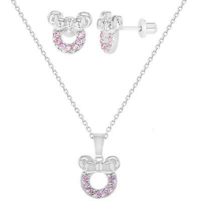 Rhodium Plated Pink CZ Mouse Toddler Girls Earrings Pendant Jewelry Set