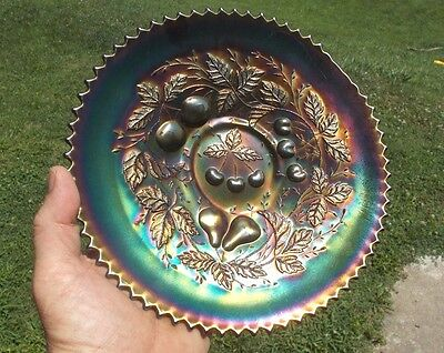 "Antique 1910 Northwood Three Fruits Amethyst Carnival Glass 9 1/2""footed Plate"