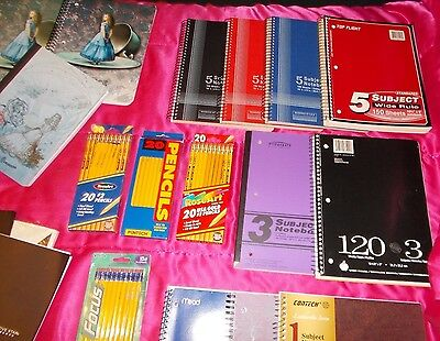Lots of School Supplies Notebook Folder Journal Paper Pencil MEAD 1 3 5 Subject