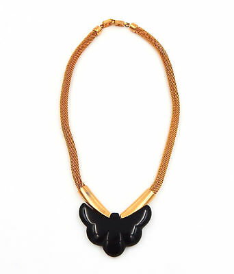 Vintage Givenchy 1977 Black Pendant And Gold Tone Mesh Necklace