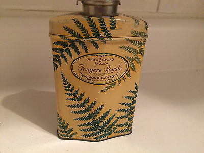 Curvy FOUGERE ROYALE after-shave talc tin with lovely fern graphics- part full