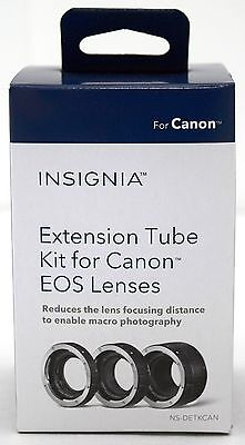 NEW Insignia Extension Tube Ring for Canon EOS Camera EF Lenses Macro 12/20/36mm