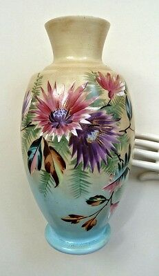 Large Antique Blown-Glass Vase Hand Painted Pink Purple Flowers Fern Blue Yellow