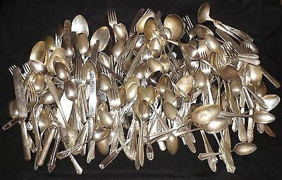 180 Pc. Vintage Antique Silverplate Flatware Mixed Lot Crafts Resale