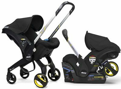 Doona Infant Baby Car Seat Travel Stroller with Latch Base Black Night NEW