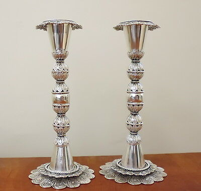 Large Sterling Silver Filigree Shabbat Candlesticks Candle Holders, Judaica Art