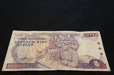 1979 Indonesia 10000 Rupiah Bank Note in VG Condition Very Nice Collectible!