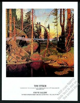 1987 Tom Uttech Sabaskong Bay painting Chicago gallery show vintage print ad