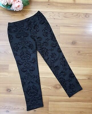 In Girl Pants Size 14 Large Black Paisley Design Stretchy Skinny Ankle Cute