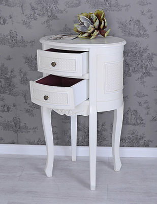 Vintage Bedside Table White Nightstand Shabby Chic Night Table Antique