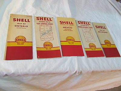 Five Vintage Shell Motor Oil Maps Mchigan,mexico,ontario,middle & Eastern