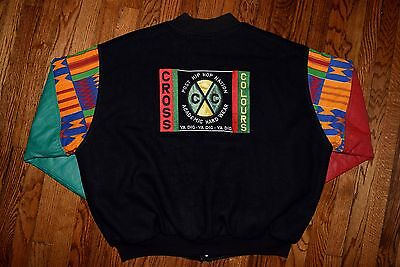1992 cross colours varsity crew jacket vtg 90s hip hop shirt rap colors XL