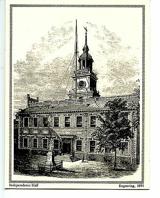 Independence Hall-Philadelphia-1891 Repro-Engraving Greeting Vintage Note Card