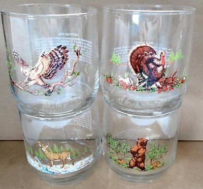 4 Sunoco American Wildlife Promo Glass Lot Vtg 1992 Libbey Deer Turkey Owl Bear