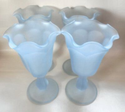 4 Ice Cream Sundae Dishes Vintage Footed Heavy Blue Frosted Tulip Ruffled