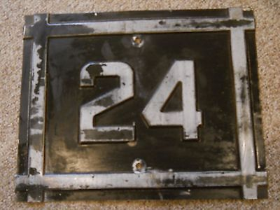 Vintage Heavy Metal Painted Rt. 24 Maine State Route Sign