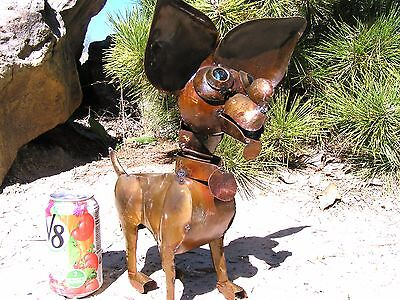 Recycled Junk Iron Chihuahua Dog with Marble eyes