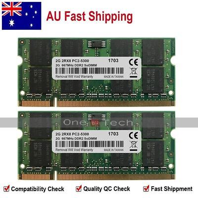 AU New 4GB KIT 2X2GB PC2-5300S DDR2-667Mhz 200-PINS SO-DIMM Laptop Memory Module