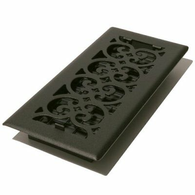 Decor Grates ST410 Scroll Floor Register Textured Black 4in by 10in, New
