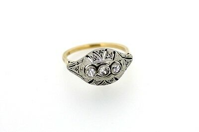 Originaler Art Deco Ring Gold Platin Brillanten