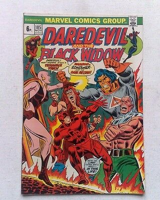 DAREDEVIL & BLACK WIDOW #105 MARVEL COMICS NOV 1973 1st PRINT MOONDRAGON THANOS