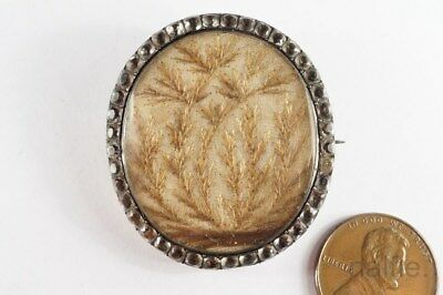 ANTIQUE ENGLISH GEORGIAN SILVER & PASTE HAIR WORK MOURNING BROOCH c1800