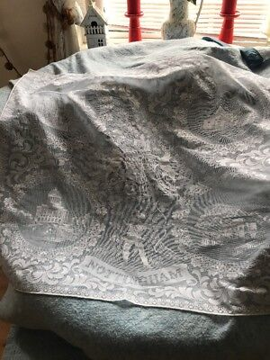 Vintage Nottingham Lace Table Cloth With Robin Hood