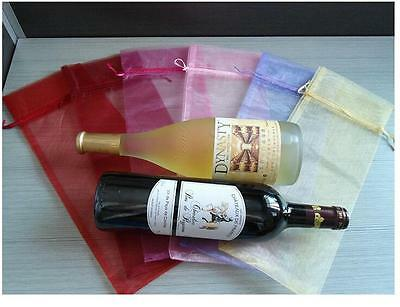 10x Sheer Organza Wine Bottle Gift Bags Cover For Holiday Party Wedding Favor BD