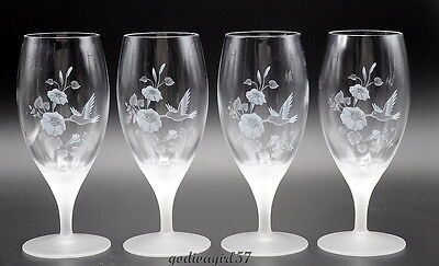 Avon Hummingbird * 4 ICED TEA GLASSES / GOBLETS * Etched Lead Crystal, EXC!