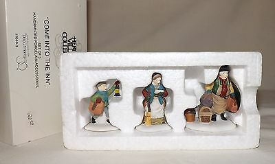 """Dept 56 Dickens Christmas Village """"Come Into The Inn"""" 2-pc Set 55603 w/Box"""
