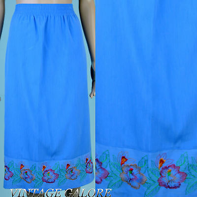 Vintage Blue Embroidered Colorful Floral hostess party a-line Skirt Sz L