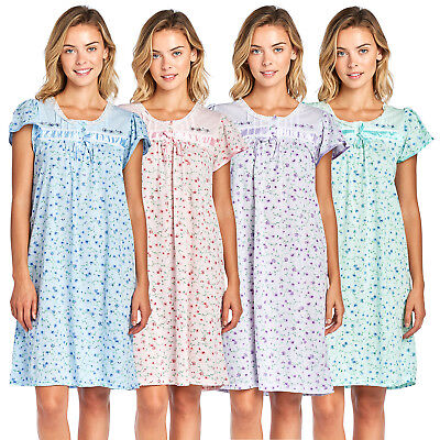 Casual Nights Women's Cotton Blend Short Sleeve Floral Nightgown Sleep Shirt
