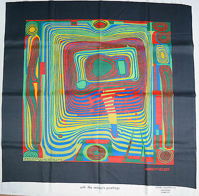 Kopftuch Foulard Textil HUNDERTWASSER ,The blood that...1953' Vintage Rarität !!