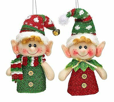 Hanging Christmas Tree Elf Ornament Pixie In Red and Green Set of 2 Elves Burton