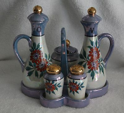 Vintage Chikaramachi Lusterware Oil and Vinegar 9 Piece Condiment Set
