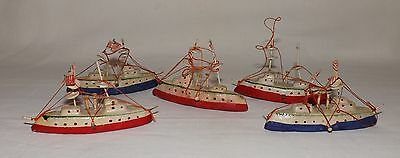Set of 5 Rare Antique Vintage Paper Composition Ships Christmas Ornaments
