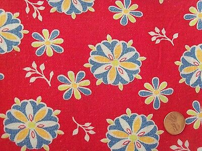 Lazy Daisy Blue Lime Green orange Posy floral Red feedsack VTG cotton fabric pc