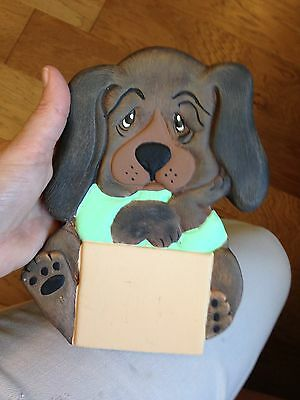 Vintage Ceramic Brown Puppy Dog Figurine, Statue /plaque With Free Shipping