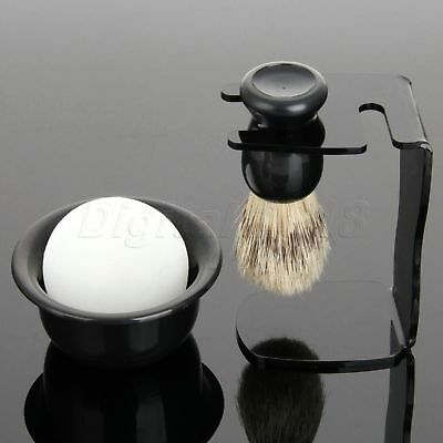 4 in 1 Set Men's Badger Hair Shaving Brush Stand Holder And Soap Bowl Cup