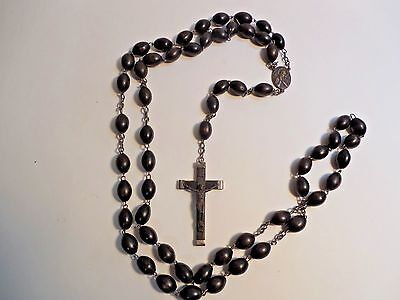 """Large 31"""" Long Vintage Rosary Beads~Wood Beads~Embossed Jesus~Made in Italy"""