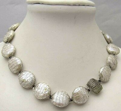 "Vintage 16"" Necklace w/ Cultured Freshwater Pearls Wire Mesh Nice Silver Tone"