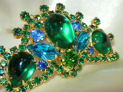 Prong Set Vintage 70's Glass Cab Rhinestone Hair Comb WOWOWOW  567m7